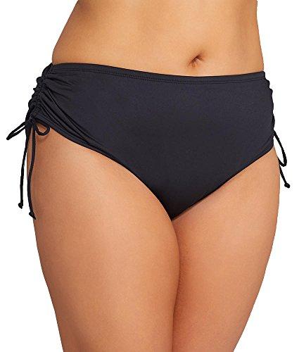 24th & Ocean Women's Plus Size High Waist Side Tie Hipster Bikini Swimsuit Bottom, Black II, 20W