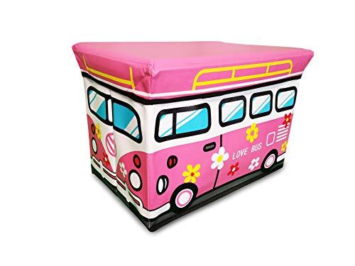 Spielzeugkiste mit Deckel (abnehmbar) bietet viel Platz für die Spielzeug Aufbewahrung - kann als Faltbox mit Deckel eingesetzt werden - Love Bus