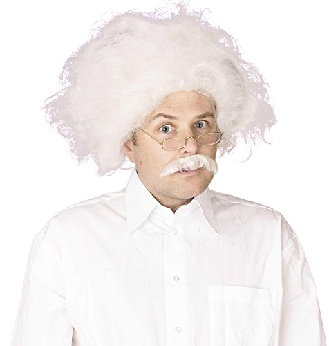 NEW WHITE PROFESSOR EINSTEIN WIG MAD SCIENTIST (peluca)