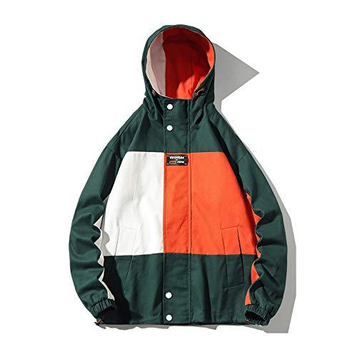 Qier Lässige Frachtmäntel, Herbst-Patchwork-Streetwear mit Kapuze, große lose Hip Hop-Windjacke für Männer, grün, 3XL