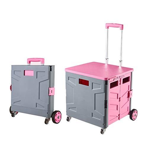 KUYUC Faltbar Einkaufstrolley Einkaufswagen Klappbar, Transport Trolley Klappbar mit Deckel, 4 Rädern Kunststoff Trolley Faltbox für Travel Shopping Depot (Color : Pink, Size : 65L)