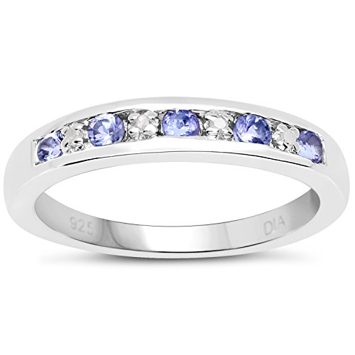 The Diamond Ring Collection: 3mm wide Sterling Silver Channel set Tanzanite & Diamond Eternity Ring (Size T)