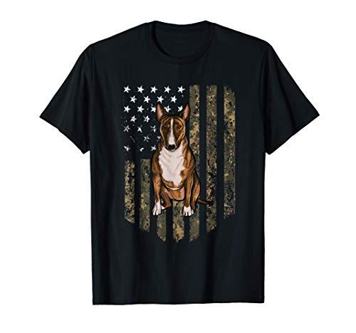Bandiera Americana Camuflaje Miniature Bull Terrier Camiseta