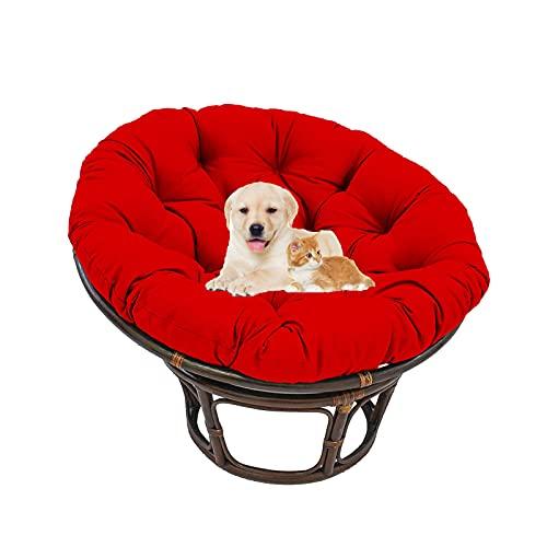 Waterdicht Papasan-stoel kussen, buitenkleed rond rieten rotan stoel kussen, Egg Nest-stoelkussen met stropdassen, Indoor binnenplaats-tuinstoelkussen,D,47.24 * 47.24in
