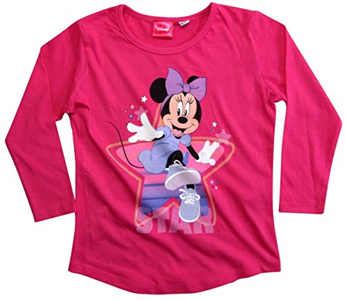 Minnie Mouse Langarmshirt Disney Maus Mädchen (Fuchsia, 98)