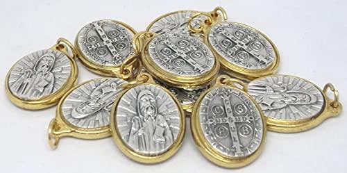 GTBITALY 60.319.20 001CRO 10 medaglie di San Benedetto Oro Argento con Anello 22 mm Stock Lotto