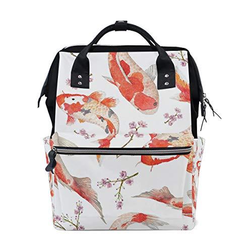 DEZIRO Canvas Koi Vispatroon Daypack voor Vrouwen Rugzakken