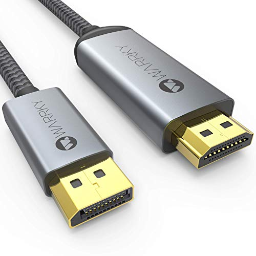 DisplayPort auf HDMI 4K Kabel [Vergoldete, Geflochten, Aluminiumhülse] WARRKY DP auf HDMI Verbindungskabel für Monitor, TV, Projektor, Laptop, PC, AMD, NVIDIA, 1,8m