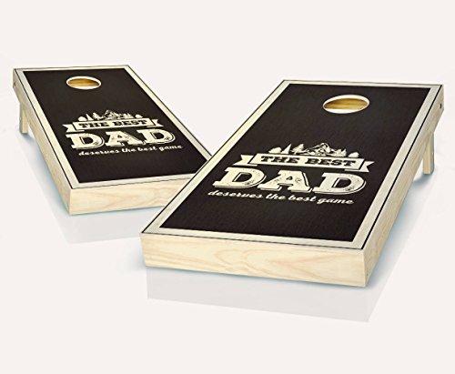 Best Dad Ebony Stained Custom Cornhole Boards Regulation Size Game Set Baggo Bean Bag Toss + 8 ACA Regulation Bags
