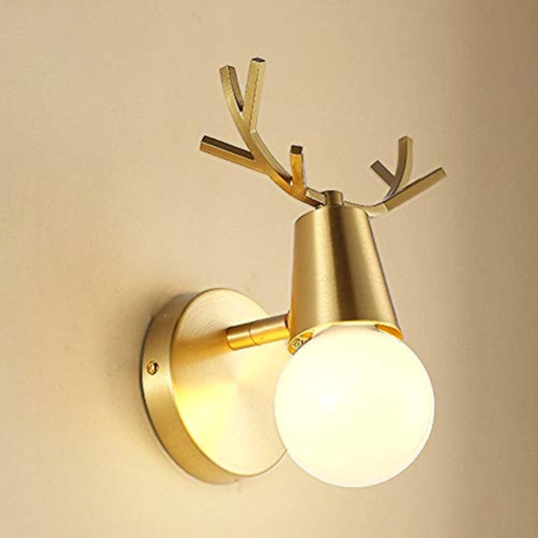WH Nordic Wandlampe postmoderne einfache Kupfer Geweih Lichter Wohnzimmer Gang Persnlichkeit kreative Hirschkopf Schlafzimmer Nachttischlampen