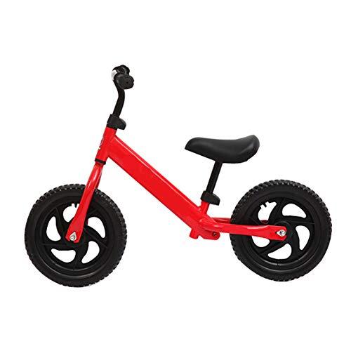 ZXL 12'Balance Bike, per Bambini Bambini Ragazzi Ragazze 2-6 Anni Senza Pedale Allenamento Sportivo Bicicletta Telaio in Acciaio al Carbonio Balance Bike,Rosso