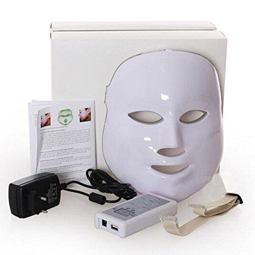 Yiwa LED Facial Mask 3 Colors Light Photon Tester Skin Rejuvenation Anti Acne Wrinkle Removal...