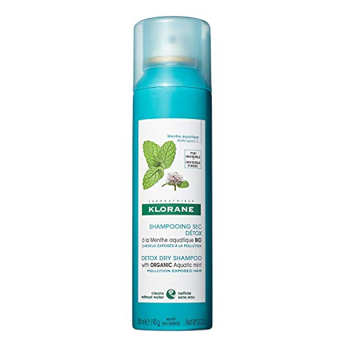 Klorane Detox Dry Shampoo with Aquatic Mint, All Hair Types, Invisible Finish, Cooling, Paraben & Sulfate-Free, 3.2 oz.