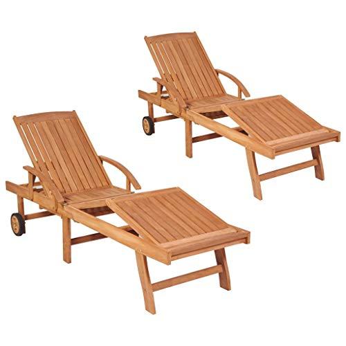 vidaXL 2X Teak Massiv Sonnenliege Verstellbare Rückenlehne Gartenliege Holzliege Relaxliege Liegestuhl Liege Gartenmöbel 195x59,5x35cm