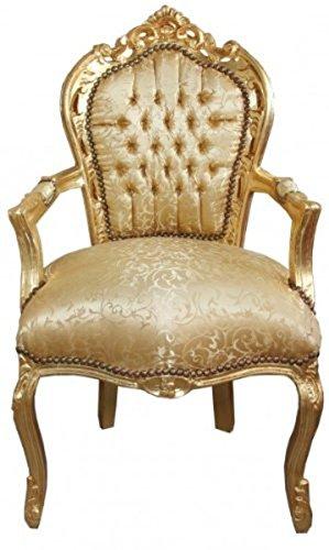 Casa Padrino Barock Esszimmer Stuhl Gold Blumen Muster/Gold mit Armlehnen