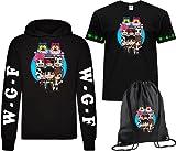 CLOTHING Felpa con Cappuccio Lyon + T-Shirt Maglietta e Sacca Lyon Team WGF WhenGamerFail Kit (12-14 Anni, Nero Logo WGF)