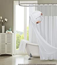 Dainty Home Smart Design Complete 2 in 1 Waffle Weave Hotel Spa Style Fabric Shower Curtain Snap On/Off Waterproof Detachable Liner Set, 72 inch wide x 72 inch long, Pique White