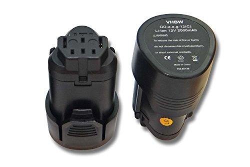 vhbw 2x Li-Ion Akku 2000mAh (12V) für Werkzeuge AEG BLL12C, BS12C, BS12C2, BSS12C, BWS12, BWS12CBWS wie 3520, 3526, 4932, 584932, 954932, L1215.