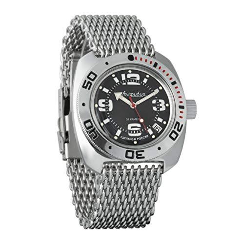VOSTOK Amphibian 710903 - Reloj de Pulsera para Hombre (Correa de Malla de 200 m, con Correa de Malla)
