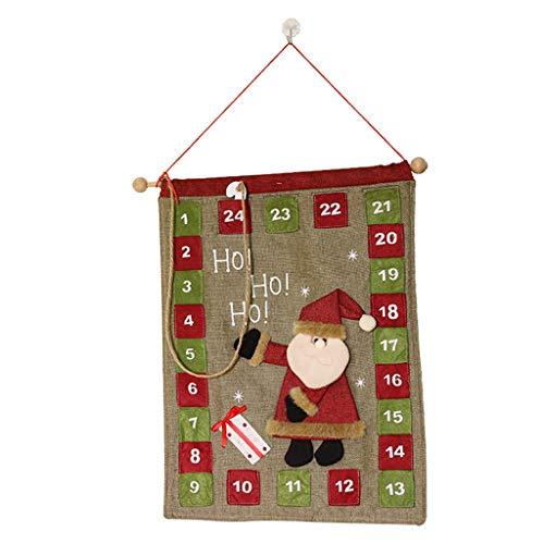 Calendarios de adviento Hecho A Mano Tela Calendario Calendario De Santa Restaurante Hotel Navidad Decoración Puntales Niños (Color : Green, Size : 38 * 50cm)