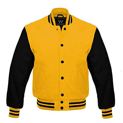 Letterman Baseball Bomber School College Varsity Jacket Yellow Wool With Black Leather Sleeves (Yellow Black, Small)