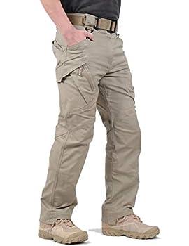 LABEYZON Men s Outdoor Work Military Tactical Pants Lightweight Rip-Stop Casual Cargo Pants Men  Khaki 34W x 32L