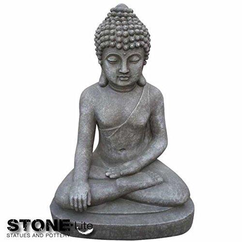 XXL Bouddha Sculpture Décoration de jardin assis Gris pierre, hauteur 40 cm