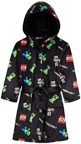 Minecraft Robe De Chambre Enfant Garçon en Polaire Ultra Douce Motif Creeper Gris ou Noir, Peignoire À Capuche Hiver Extra Doux, Une Super Idée De Cadeau Ado Garçon Ou Fille (11-12 Ans, Noir)