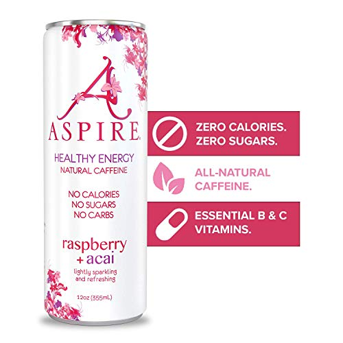 ASPIRE Healthy Energy Drink – Raspberry Acai, 12 Pack – Zero Sugar, Calories or Carbs – Keto, Vegan, Kosher – Contains Natural Caffeine, Vitamins B & C - No Jitters or Crash – 12oz Cans