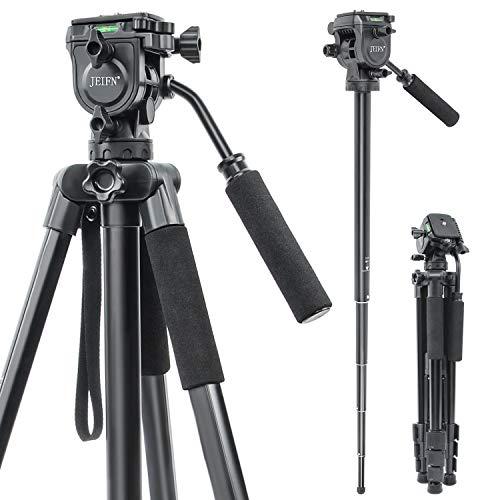 JEIFN Q580 - Trípode de cámara de 66 pulgadas, ligero de aleación de aluminio de viaje con soporte universal para teléfono y bolsa de transporte para cámaras Canon Nikon Sony DSLR y teléfono