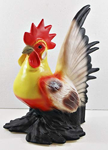 RAKSO Deko Figur Hahn bunt H 30 cm Hahnfigur Gartenfigur mit Scherz Bewegungsmelder Kikeriki