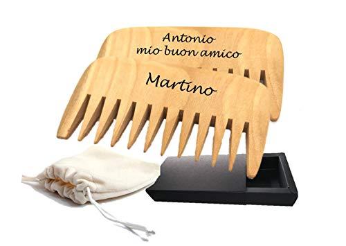 Pettine in legno personalizzato per la cura dei capelli e della barba, tutti i tipi direttamente a ricci, tascabili, pettine antistatico da massaggio, pettine inciso al laser 2 pz.
