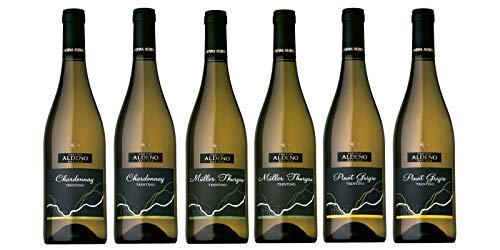 Confezione 6 bottiglie | 3 tipologie di Vino Bianco Trentino DOC: Muller Thurgau | Chardonnay | Pinot Grigio - Cantina Aldeno - Athesim Flumen