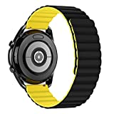 Tasikar 22mm Correas Compatible con Correa Samsung Galaxy Watch 3 45mm/Watch 46mm, Pulsera de Repuesto de Silicona con Cierre Magnético [Usable Doble Cara] para Huawei Watch GT2 46mm (Amarillo-Negro)