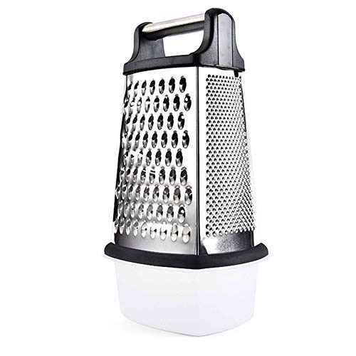 RAXMIN 4Sided Stainless Steel Box Grater with Storage Container 10 inch