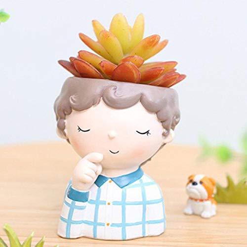 LLAAIT 1pcs Diseño de niña y niño Mini Macetas de Flores Cactus Planta suculenta Contenedor Maceta Maceta de jardín Caja de Ventana Decoración de Bricolaje para el hogar, G, China