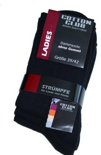 Cotton Club Damen-Socken ohne Gummi mit Lycra 9erPack (39-42, schwarz)