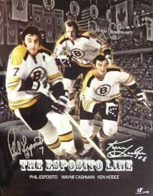 Autographed Phil Esposito PhotographKen Hodge Wayne Cashman 11x14Autographed NHL Photos