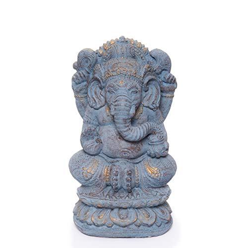 NaRoom Ganesha Skulptur Massiv Hindu Gottheit Figur ca. 36 cm Stein Statue Elefant-Kopf Lavasand blau-Gold