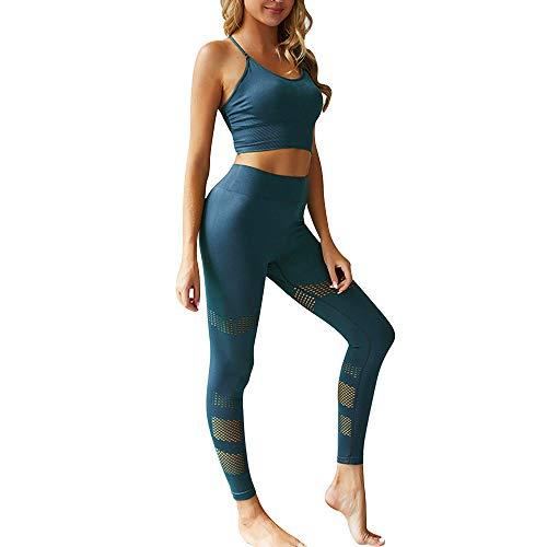 Dihope - Conjunto de ropa de deporte para mujer - 2 piezas, chándal de verano, top ajustado push up, pantalones cortos de deporte, elástico, fitness, jogging, yoga