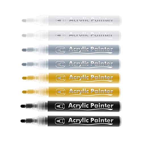 NC Rotuladores metálicos de 8 piezas, rotuladores de pintura metálica adecuados para tarjetas, escritura, letras de firma, rotuladores de pintura