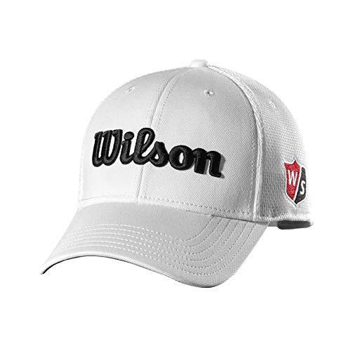 Wilson Staff Tour Mesh cap, WGH6100WH Cappello da Golf, Visiera Curva, Regolabile, Uomo, Bianco