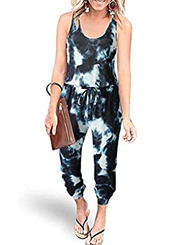 ANRABESS 2021 Women's Casual Round Neck Sleeveless Jumpsuit Tie Dye Printed Long Pant Romper Pajama with Pockets 208huilanbai-S