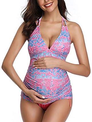 Traje de baño de Maternidad Verano Mae triángulo Halter Bikini Rosa/Impreso Small