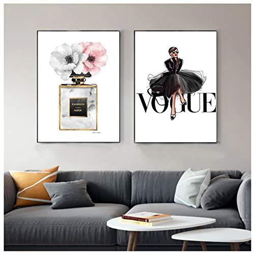 GUOCHEN Arte de Pared, Lienzo de Vestido Negro de Moda, Perfume artístico de Pared nórdico con Estampado de...