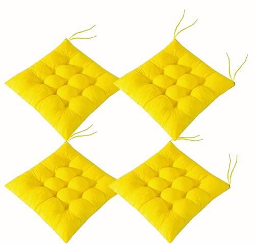 Queta 4 pezzi cuscini decorativi per sedili, cuscini per sedie, poliestere, per interni ed esterni, per cucina, giardino, sedia da pranzo (Giallo)