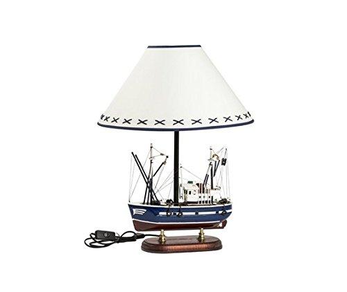 Tischlampe im maritimen Stil, Modell-Boot, aus Holz, blau, weißer Lampenschirm