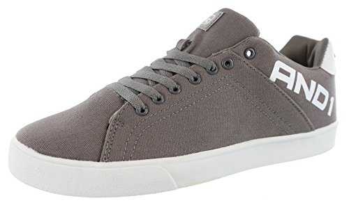 AND1 Mens Fundamental Low Top Canvas Lace Up Shoes (11 M US, Grey)