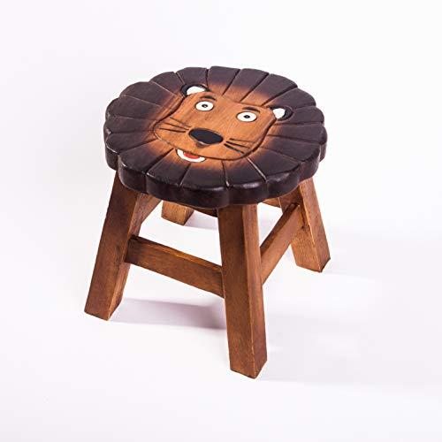 Taburete infantil de madera maciza con diseño de león, altura de asiento de 25 cm