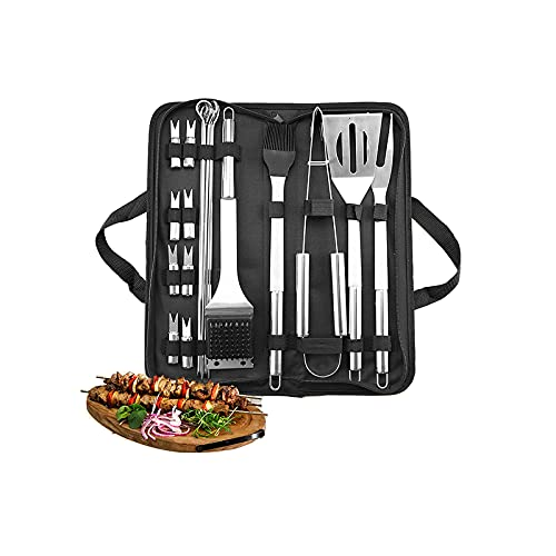 21-Piece Barbecue Tool Set, Extra-Thick Stainless Steel Fork Spatula Tongs, More Sign Food Forks, Complete Aluminum BBQ Accessories,Suitable for Outdoor Barbecue and Hiking Party